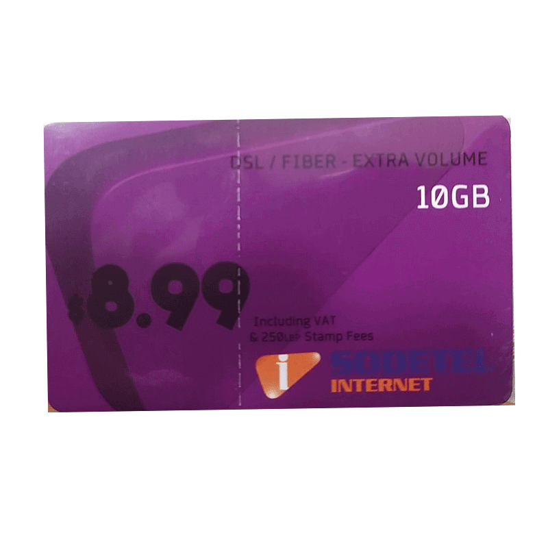PREPAID INTERNET CARD SODETEL DSL FIBER EXTRA VOLUME 10GB